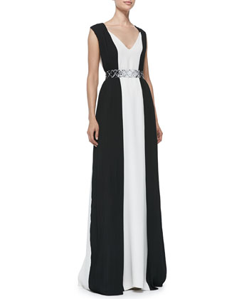 Margaret Paneled Gown with Belt
