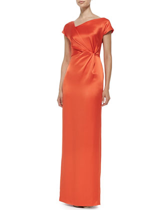 Marianne Cap-Sleeve Gown W/ Draped Side