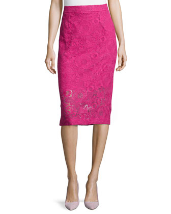 Guipure Lace Pencil Skirt, Orchid