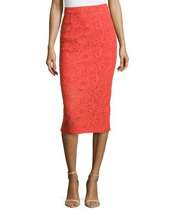 Guipure Lace Pencil Skirt, Poppy