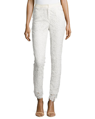 Guipure Lace Straight-Leg Pants, Eggshell