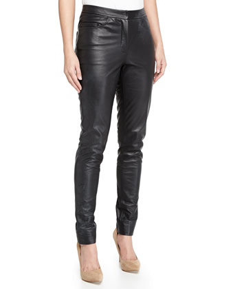 Leather Slim Pants, Black