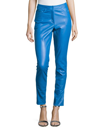 Leather Slim Pants, Sapphire