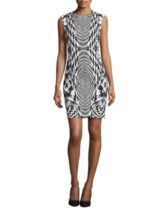 Sleeveless Houndstooth Jersey Dress