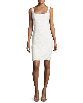 Guipure Lace Sleeveless Dress, Eggshell