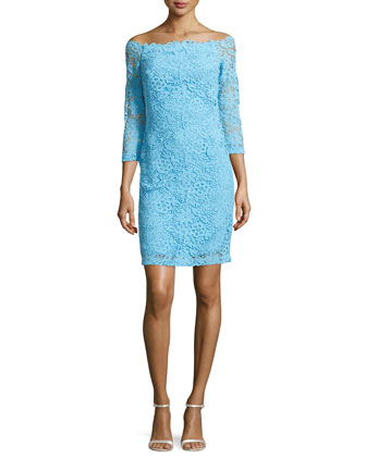 Guipure Lace Off-the-Shoulder Dress