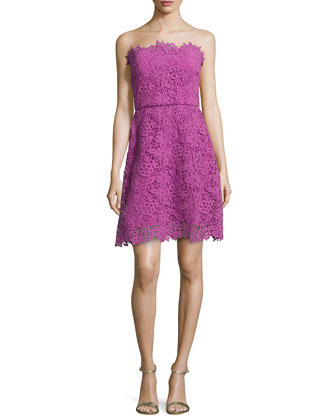 Guipure Lace Strapless A-line Dress