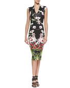 Mirrored Tropics V-Neck Midi Dress