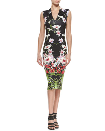 Mirrored Tropics V-Neck Midi Dress
