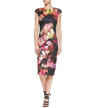 Cascading Floral Cap-Sleeve Sheath Dress