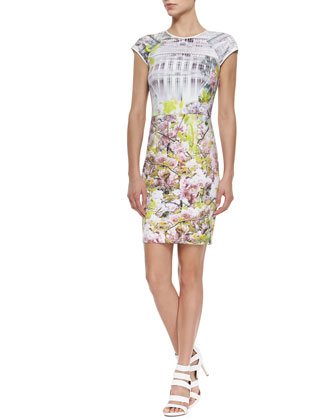 Cap-Sleeve Floral/Window Printed Sheath Dress