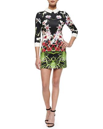 Mirrored Tropics Dress with Three-Quarter Sleeves