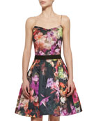 Cascading Floral Sweetheart-Neck Camisole