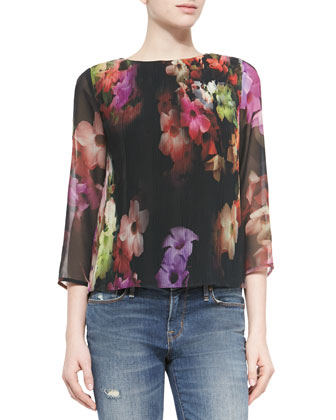 Cascading Floral Georgette Top