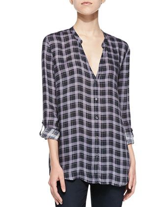 Dane Button-Front Plaid Top