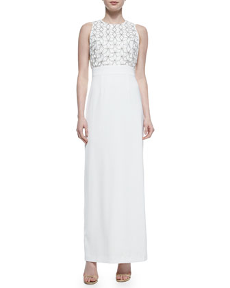 Sleeveless Dress with Beaded and Embroidered Embellishment