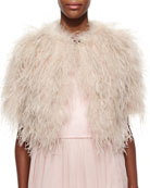 Feather Crop Shrug, Pale Pink