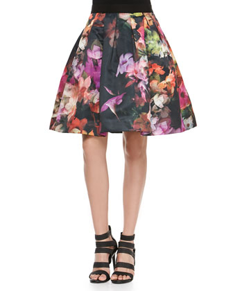Cascading Floral Pleated Full Skirt