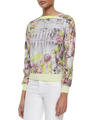 Floral & Window Printed Long-Sleeve Top