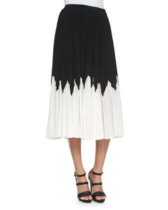 Betty Pleated Contrast Midi Skirt
