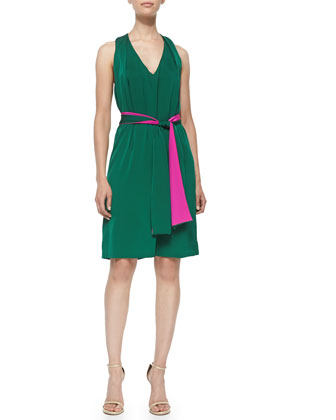Jeanette Halter-Back Dress W/ Tie Belt
