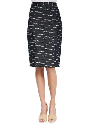 Explorer Dropped-Sleeve Pullover & Nomad Slim Combo-Weave Skirt