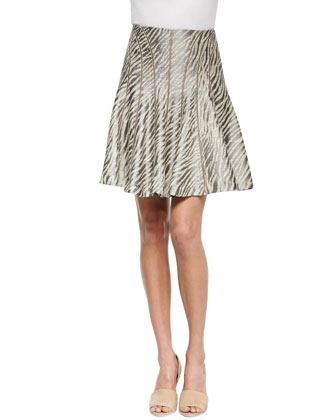Wild Flared Zebra-Print Skirt