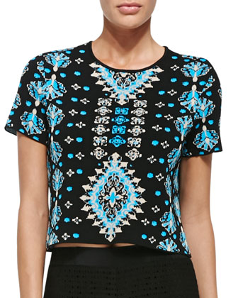 Spicy Short-Sleeve Printed Crop Top