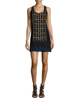 Sleeveless Beaded Shift Dress