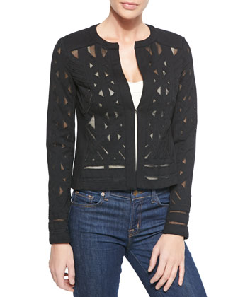 Folk Art Cutout Mesh Jacket