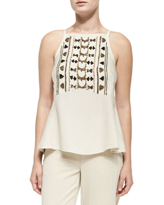 Zebra Jacket W/ Flared Hem, City of Gold Embellished-Front Tank & Relic ...