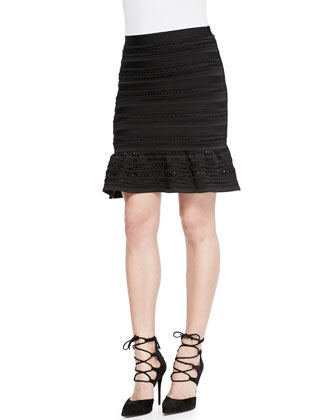 Lorie Half-Sleeve Cutout Crop Top & Kade Flounce-Hem Bandage Skirt