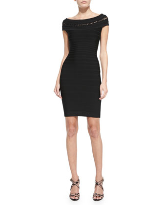 Ardell Short-Sleeve Off-Shoulder Bandage Dress