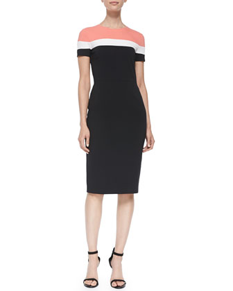 Ruthie Short-Sleeve Colorblocked Dress