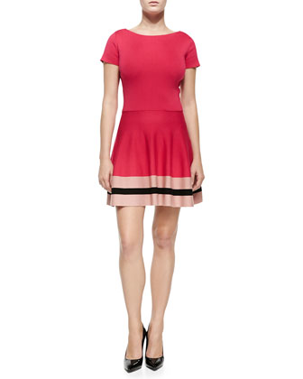 Short-Sleeve Dress W/ Colorblocked Hem