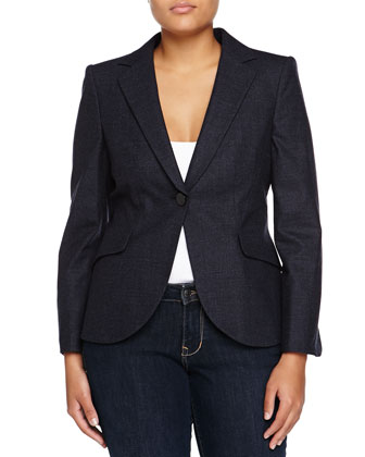 One-Button Melange Jacket