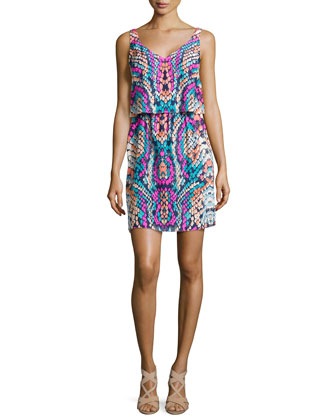Gretchen Sleeveless Graphic-Print Dress