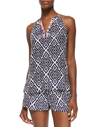 Gwen Geometric-Print Silk Top
