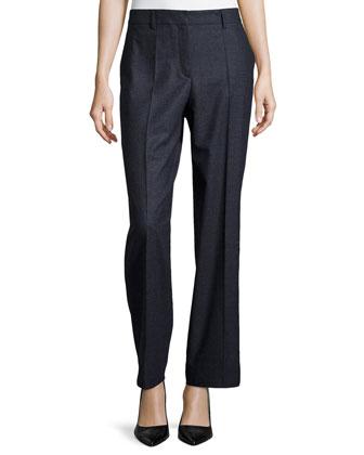 Straight-Leg Wool Pants, Navy