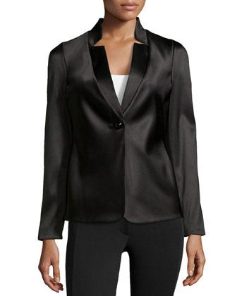 Tuxedo-Style Satin Jacket, Black