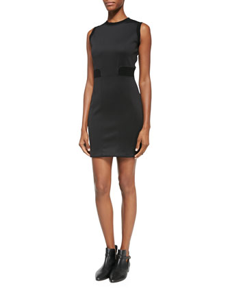 Body-Conscious Dress W/ Knit Trim