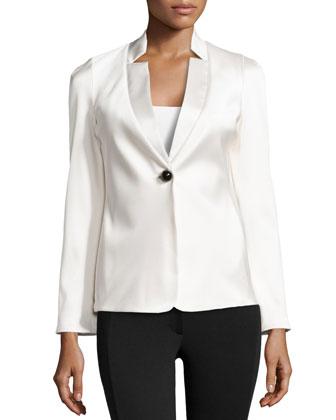 Tuxedo-Style Silk Satin Jacket, White