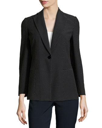 Single-Button Long Jacket, Black/White
