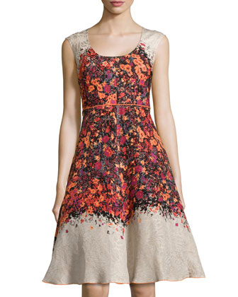 Scoop-Neck Flared Floral Frock