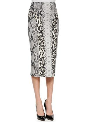 Snake-Print Cardigan W/ Zip Front & Sexy Combo Midi Pencil Skirt