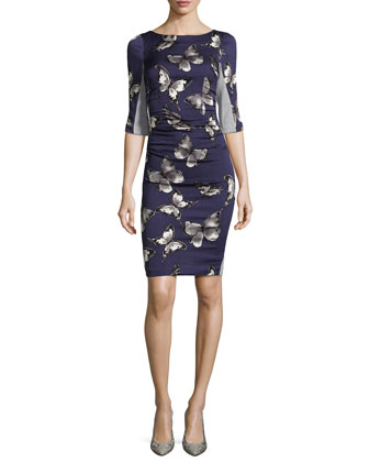 T Elbow-Sleeve Dress W/ Butterfly Print