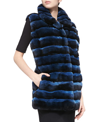 Layered Rex Rabbit Vest, Navy