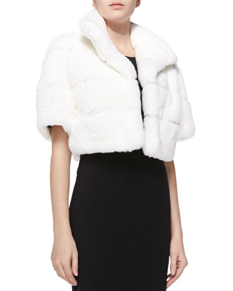 Layered Rabbit-Fur Jacket, White