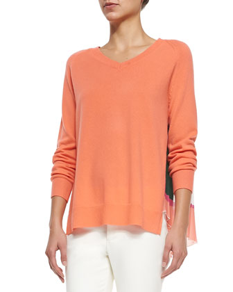 V-Neck Pullover W/ Pleated Back