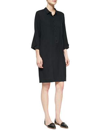 3/4-Sleeve Silk Shirtdress, Women's